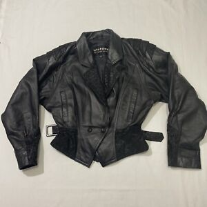 Wilsons 80s Vintage  Black Leather Jacket Women's Small
