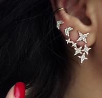 Fashion Rhinestones Earring Shiny Star Heart Stud Earrings For Women Ear Jewelry