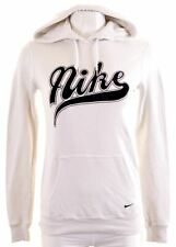 NIKE Womens Hoodie Jumper Size 10 Small White Cotton  HE03