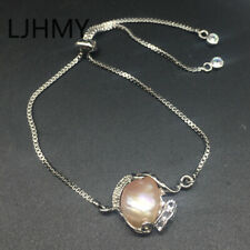 Purple Baroque Freshwater Pearl 24K White Gold Filled Adjustable Chain Bracelet