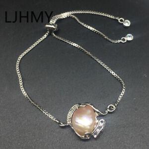 Purple Baroque Freshwater Pearl 24K White Gold Filled Adjustable Chain Bracelet