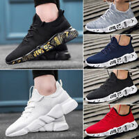 Men's Running Trainers Lace Up Flat Comfy Fitness Gym Sports Shoes Size Sneakers