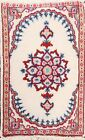 Geometric Ivory Hand-knotted Traditional Area Rug Wool Oriental Carpet 1x2 Foyer