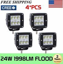 4x 3inch 24W LED Work Light Bar Flood Fog Cube Pods Offroad Driving 3x3 ATV 4WD