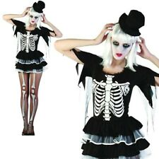 Ladies Sexy Skeleton Lady Costume Halloween Horror Womens Fancy Dress Outfit New