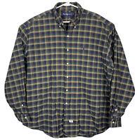Polo Ralph Lauren Long Sleeve Oxford Shirt Plaid Mens Sz 2XL Blue Green Tan EUC