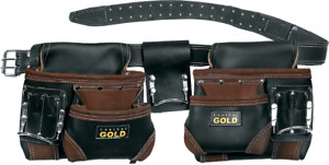 LEATHER GOLD Genuine Finished Leather Framer's adjustable Rig, Tool Belt 3450