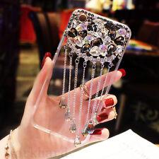 Girl's Luxury Bling Diamond Crystal Tassel Back Clear Case Cover for Cell Phones