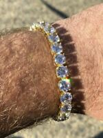 Mens Tennis Bracelet 14k Yellow Gold Over Solid 925 Silver 7mm 35ct Lab Diamond