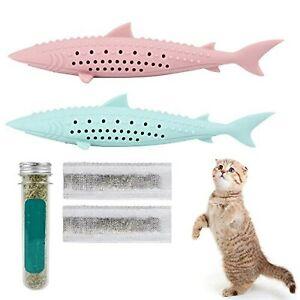 2PCS Interactive Cat Toys Kitten Catnip Toothbrush Chew Treat Toy Teeth Cleaning