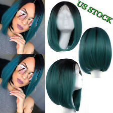 Black Green Two Tone Woman Wigs Short Bob Style Synthetic Lace Front Wig Ombre