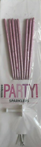 8PK PINK Sparklers Cake Topper Party Cake Candle Birthday Anniversary