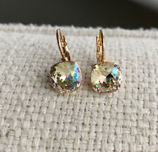 Dangle square 8mm Green-ish yellow Swarovski crystal with bella pierced earrings