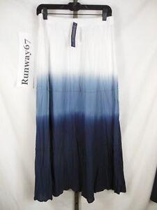 Peasant Long SKIRT M Med Ombre Lined Blue White Elastic Waist Christopher Banks