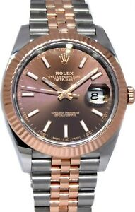 Rolex Datejust 41 Chocolate Dial 18k Rose Gold Steel Watch Box/Papers '18 126331