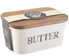 STIR IT UP Ceramic BUTTER Storage DISH with Rustic Wooden Lid Cover