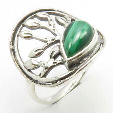 925 Sterling Silver Traditional Fashion Jewelry Green Malachite Tree Ring Size 6