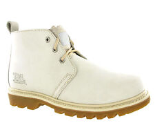 CAT Caterpillar Mandy Ankle Boots Womens White Leather Chukka Walking Shoes