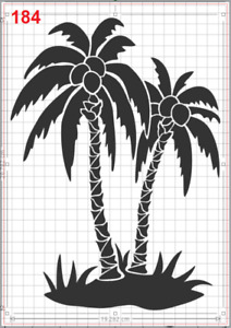 Palm Tree Coconut Stencil MYLAR A4 sheet strong resuable Art Craft Wall Deco
