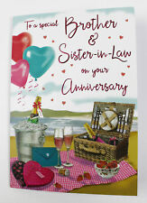 Brother And Sister-in-Law Wedding Anniversary Greeting Card & Envelope Seal
