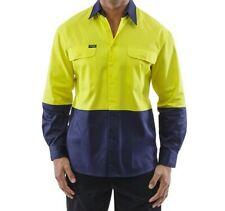 Mens Size L WorKit Hi Vis Cool Lightweight L/S Work Shirt ~ 2003YN ~ PPE Tradie