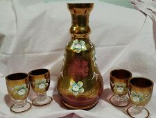 BOHEMIAN GLASS Decanter Set Gold Encrusted CZECH REPUBLIC