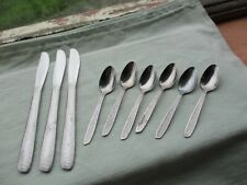 ONEIDA TEXTURA -  3 DESERT KNIVES AND 6 EGG SPOONS - STAINLESS STEEL