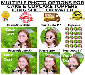YOUR OWN EDIBLE PERSONALISED PHOTO OR IMAGE Wafer Icing Cake Topper Costco