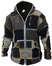 Mens Wool Patchwork Fleece Lined Hippy Jacket Boho Superwarm Winter Zip Jumper