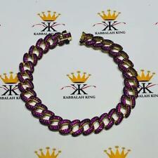 18k Yellow Gold Sterling Silver Pave Pink Sapphire Cuban Link Tennis Bracelet
