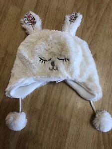 White girls fluffy bunny hat, 0/12 months