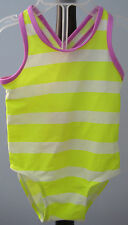 New OLD NAVY Size 12-18 Months Yellow Striped One-Piece UPF 50 Swimsuit