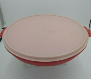 Vintage Tupperware Party Veggie Platter Divided Tray #405-1 Round Red