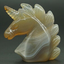 "Unicorn Head 2"" Natural Grey Agate Carved Reiki Healing Home Decor Gift#2872"