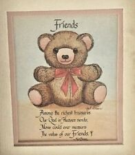 "Wood 4 3/4 X 5 3/4"" Friend Bear Sign: .Value of Friends"