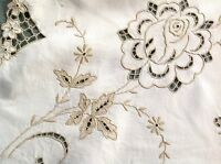 """Vintage Hand Embroidered """" ROSES """" Natural Linen Tablecloth 42x44 Inches"""