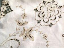 """VINTAGE RICAMATA A MANO """"ROSE"""" Natural Linen tablecloth 42X44 pollici"""