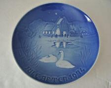 B&G Copenhagen Blue Porcelain Christmas In The Village Landsbyjul 1974 Plate