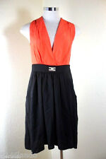 Elisabetta FRANCHI Orange Black Dress Viscose Italy Medium Sz. 40 3 4 5