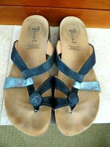 THINK! Julia Stone US 10 10.5 EU 41 Blue Leather Thong Sandals