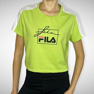 Fila Women's Neon Green Cropped Spellout T-Shirt