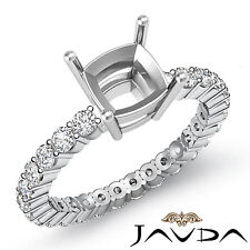 Diamond Engagement Eternity Style Ring Cushion Semi Mount 18k White Gold 0.8 Ct.