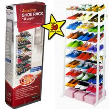 Shoe Rack Floor Stand 10 Shelf Tier Wardrobe 30 Pairs Garage Closet Organiser