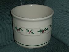 "Longaberger Pottery Holly Crock Candle Holder 4 1/2"" Diameter Ec"