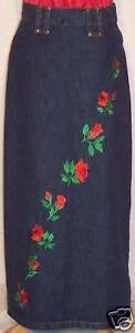 "36"" Long Modest Denim Blue Jean Skirt Red Rose 28 / 29!"
