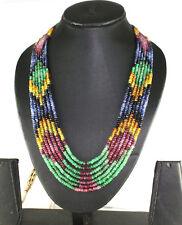 400Cts Beautiful Multi Sapphire Gemstone 7 line Necklace