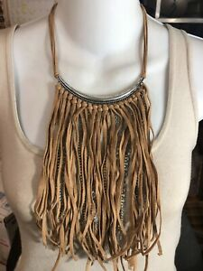 DESIGNER STYLE STATEMENT LARGE BIB NECKLACE ~ TAN SUEDE STRANDS SILVER CHAINS