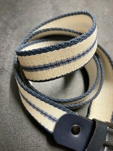 Retro Blue & White Striped Cotton Belt