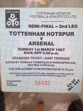 1987 Tottenham Hotspur Arsenal Football Ticket Semi-Final Spurs Old Used Vintage