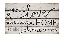 P. Graham Dunn What I Love Most About My Home White Wash 24 x 14 Inch